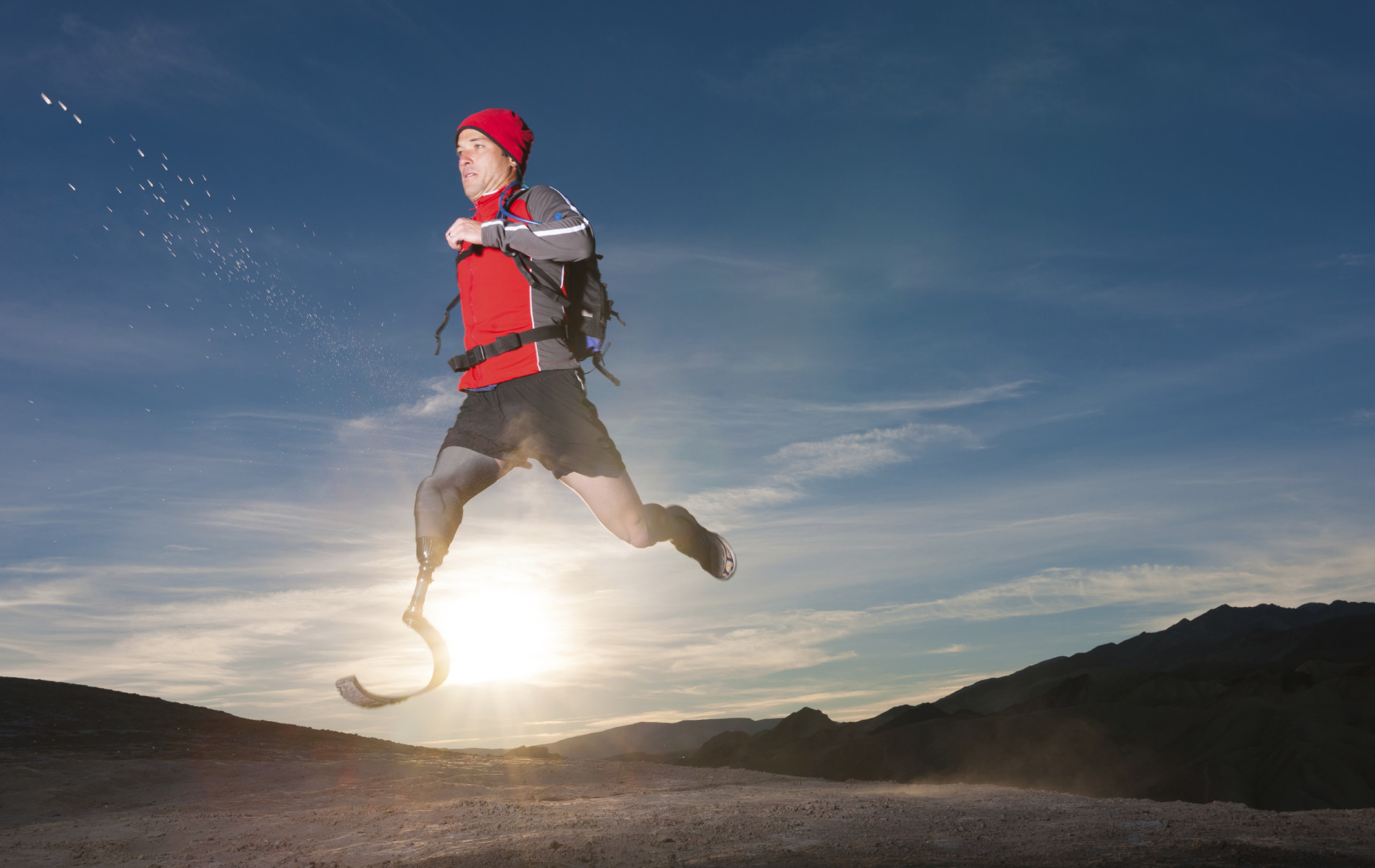 A challenged athlete running through the desert with a prosthetic leg.  [url=/file_search.php?action=file&lightboxID=8330947][img]http://blog.michaelsvoboda.com/ProstheticBanner.jpg[/img][/url]